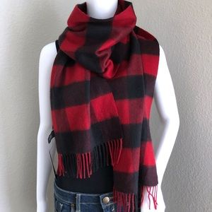 Nordstrom Cashmere Scarf Buffalo Plaid Red Black